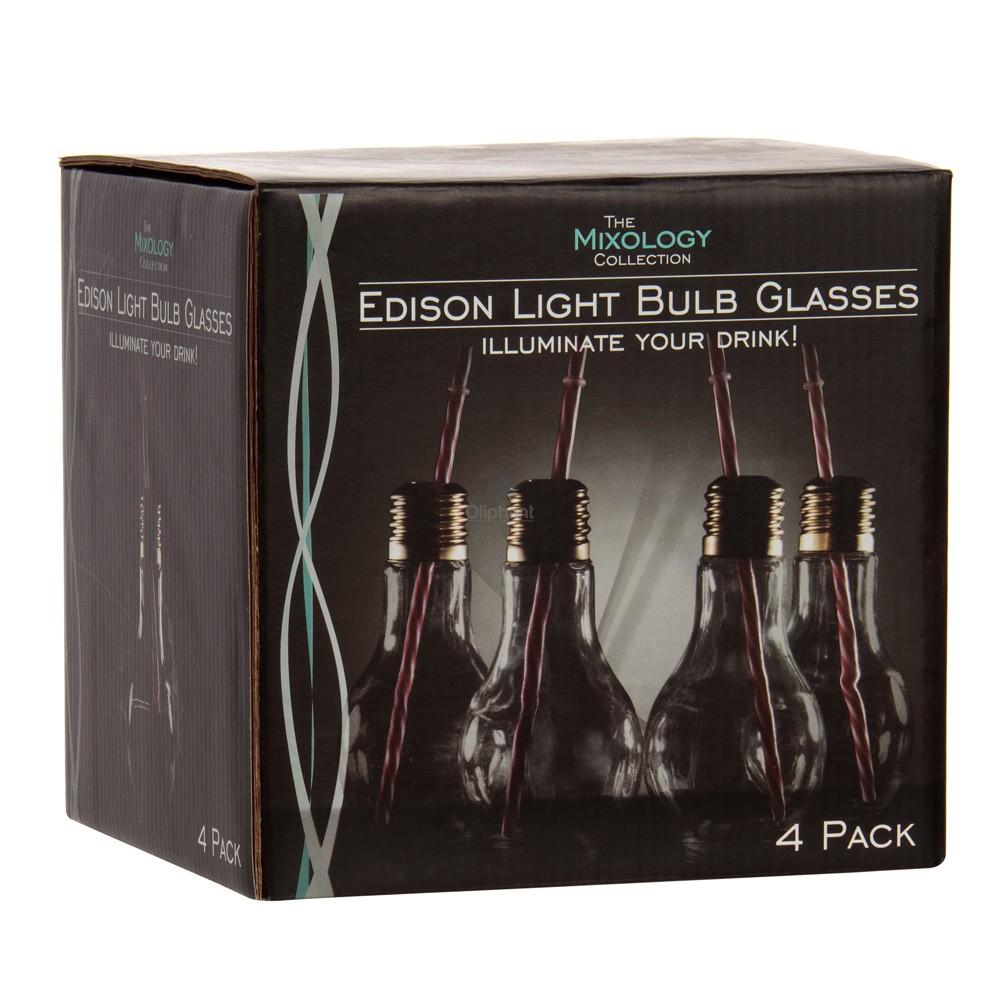 Mixology Brass Light Bulb Glass 4pk