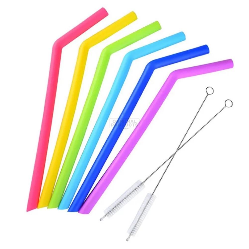 Bar Bespoke Coloured Silicone Straws 6 Pack