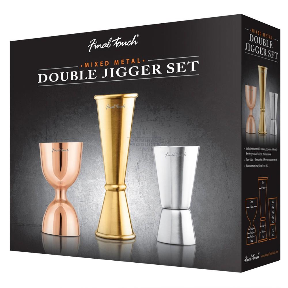 Final Touch set of 3 Mixed Metals Jiggers