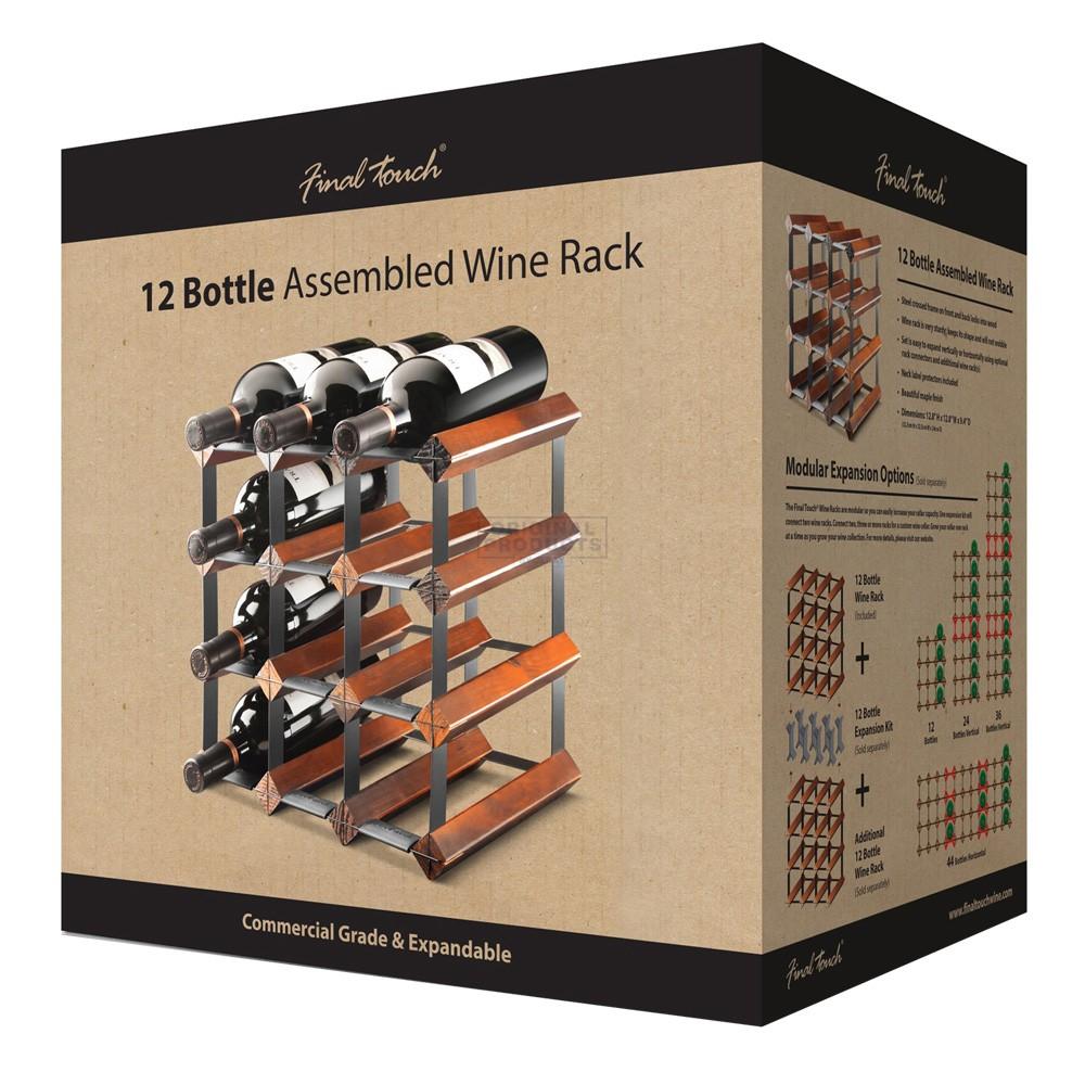 12 Bottle Assembled Maple Wine Rack