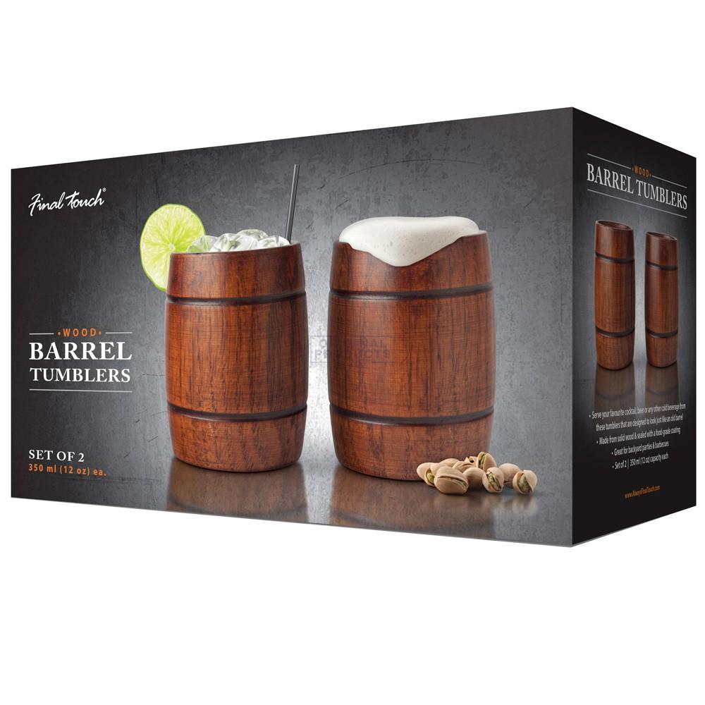 Final Touch Wooden Barrel Tumbler 2 Pack