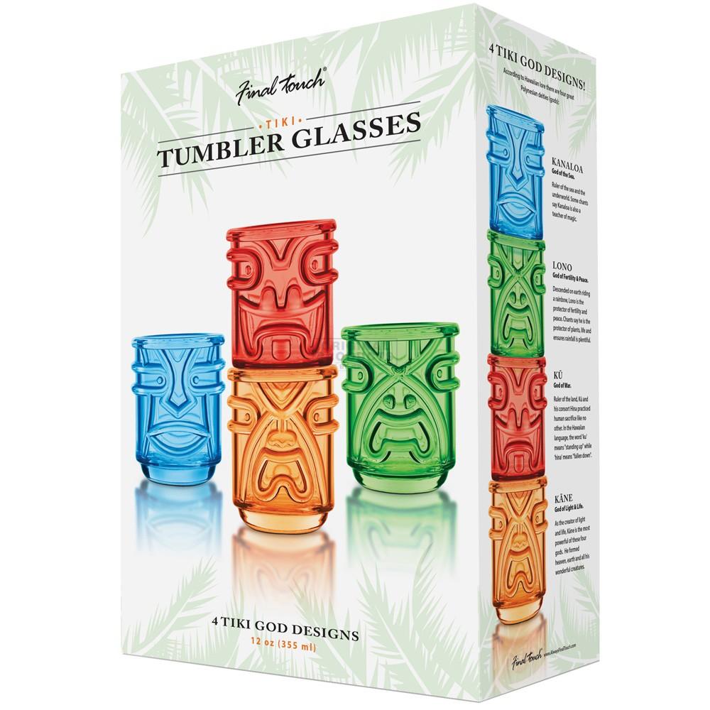 Final Touch Tiki Tumbler Coloured 4 Pk