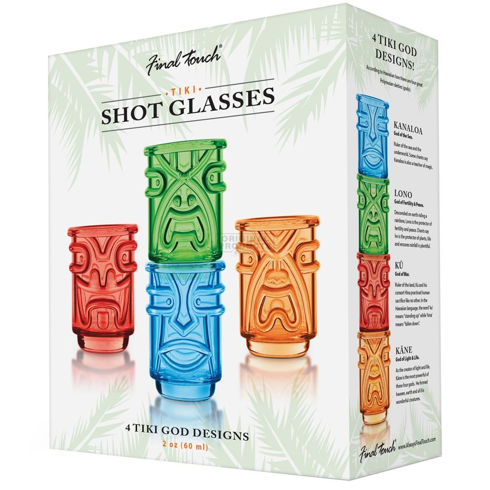 Final Touch Tiki Shot Glasses Coloured 4 Pk