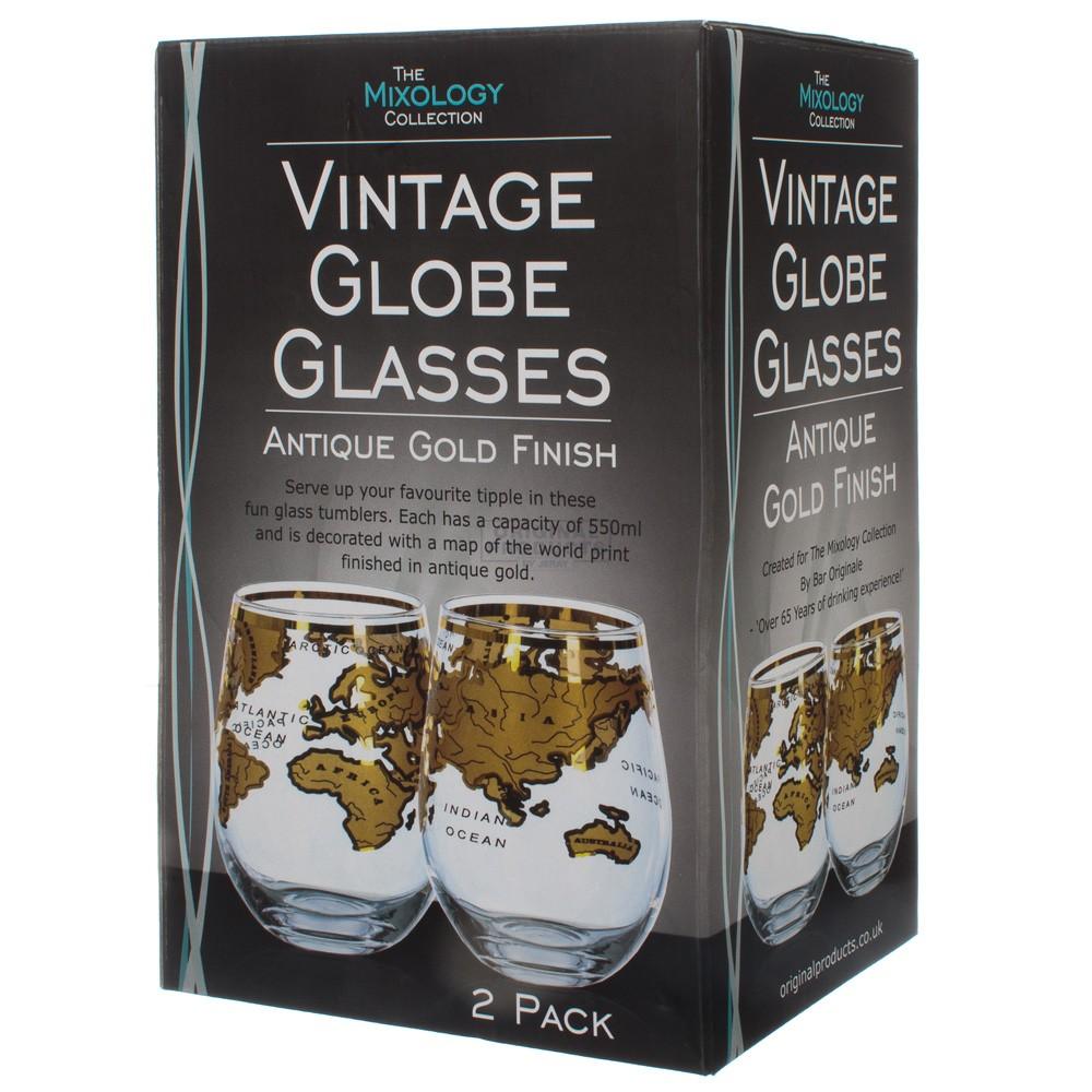 Vinology Vintage Globe Glass Gold