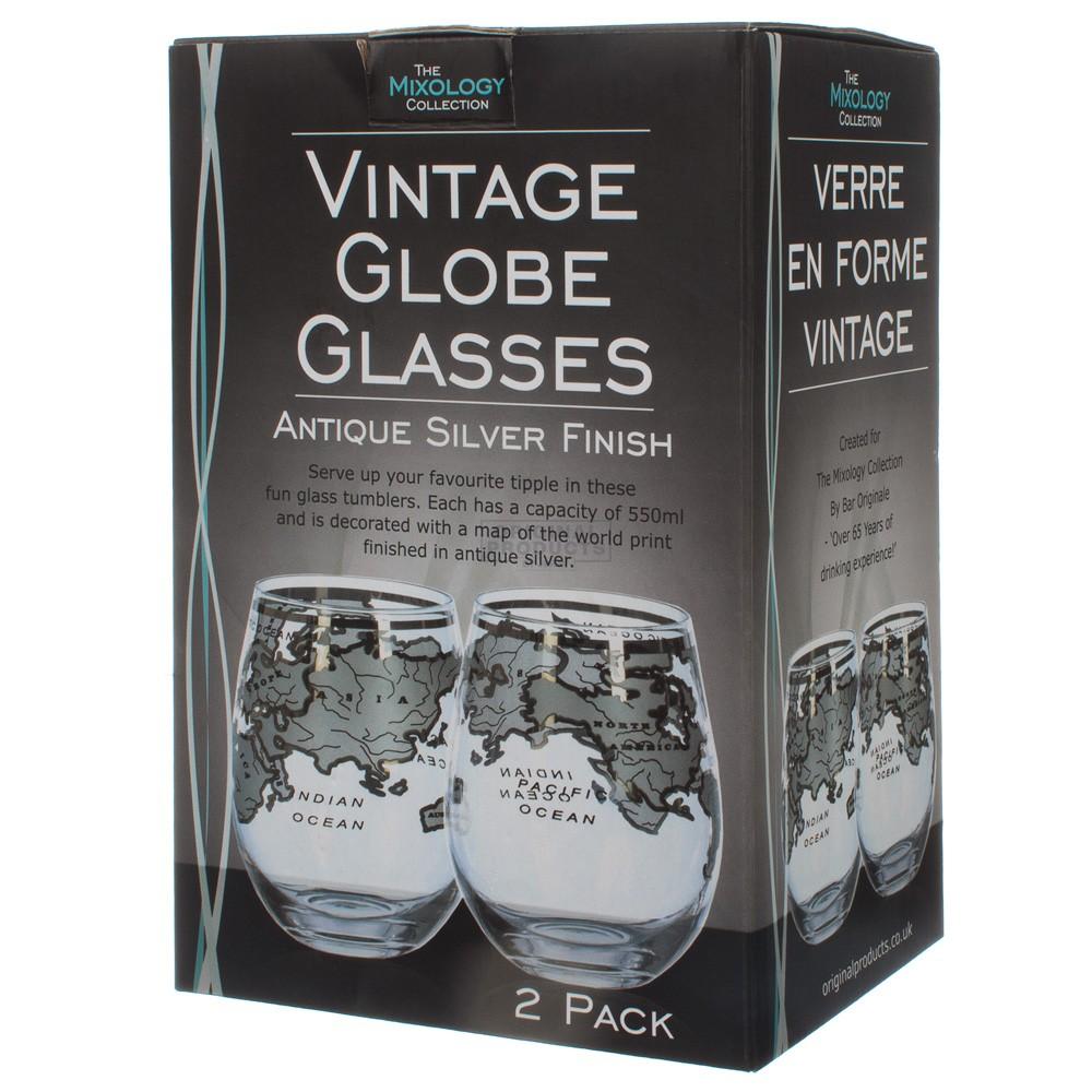 Vinology Vintage Globe Glass Silver