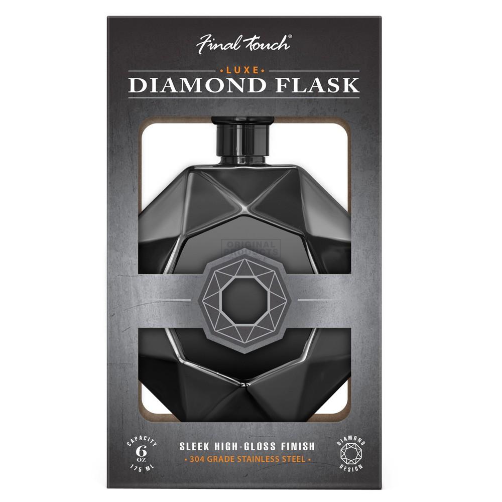 Final Touch Diamond Flask Black Steel
