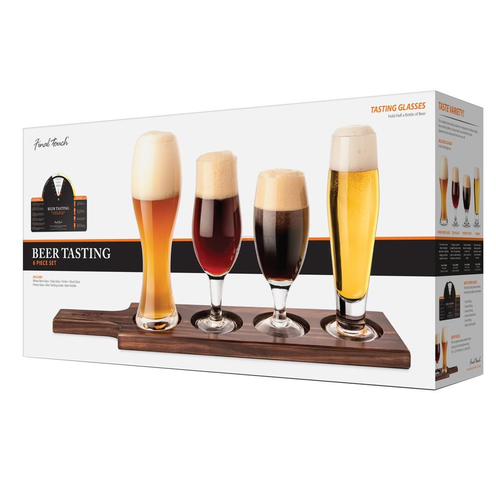 Final Touch Beer tasting Set Dark Wood