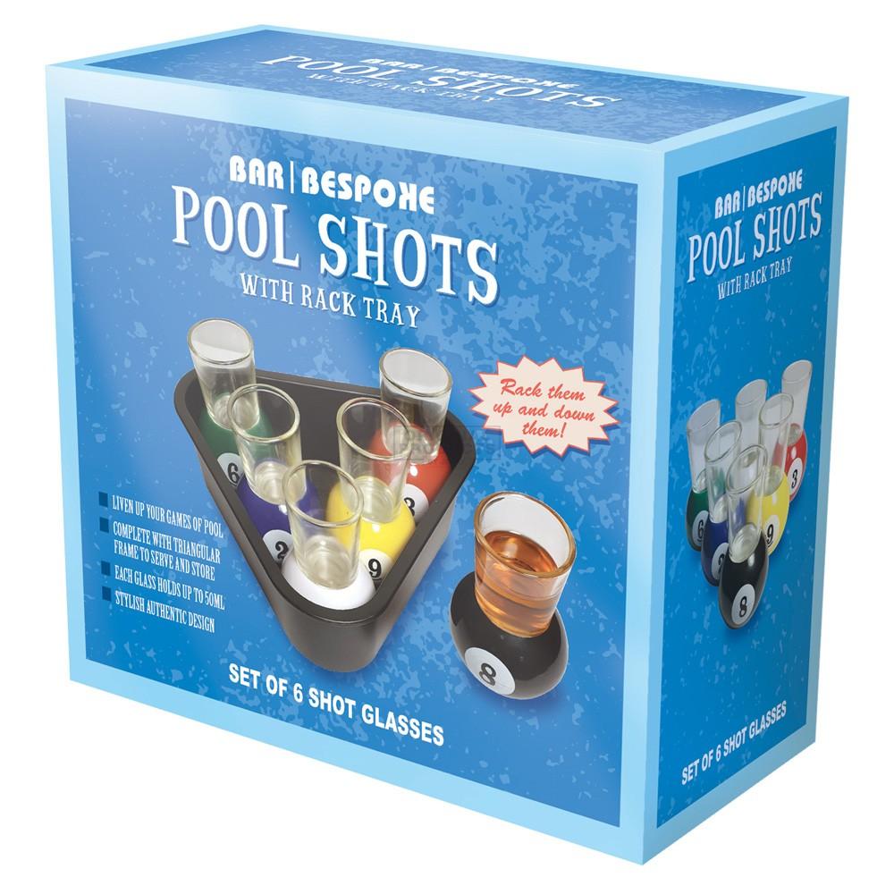Bar Bespoke Pool Shots set of 6 with Tray